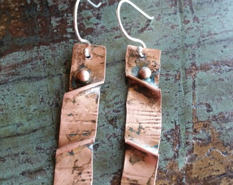 The June. Hand crafted Copper Earrings with Sterling Silver Hooks.