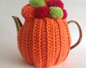 Pom Pom Tea Cosy - orange