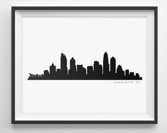 Charlotte Skyline Silhouette  -  Printable Skyline  -  Carolina Panthers  -  PDF, png, SVG, eps, JPG