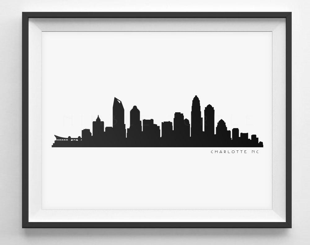 Charlotte Skyline Silhouette Printable Skyline