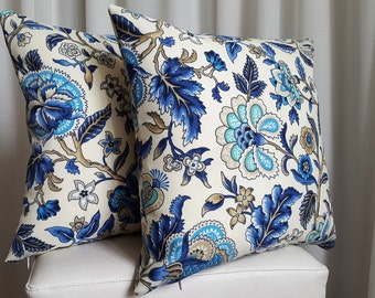 Blue Heritage 40cm Outdoor Indoor Blue Beige Floral Cushion Cover
