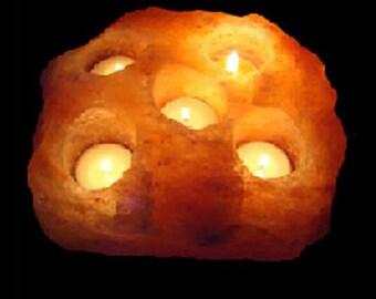Crafted candle holder of salt/gearbeitete Kerzenhalter von Salz