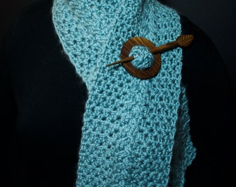 Light Blue Braided Cable Scarf (shawl pin not included)