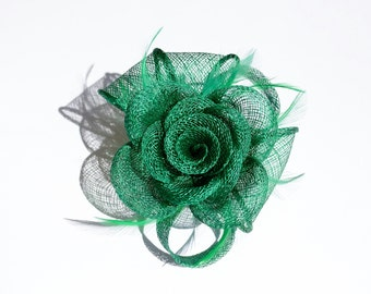 Green Classic Sinamay Flower Clip