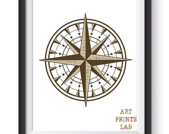 25% OFF: Compass print - Nautical print - Nautical décor - Compass wall art – Compass poster - Antique print -  Nursery art - Home Decor