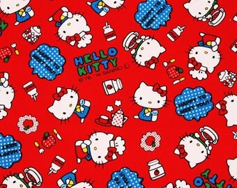 """Hello Kitty Character Fabric made in Japan, 45cm by 53cm or 18"""" by 21"""""""