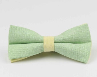 Bowstie - Hand made bowtie - Green & Yellow