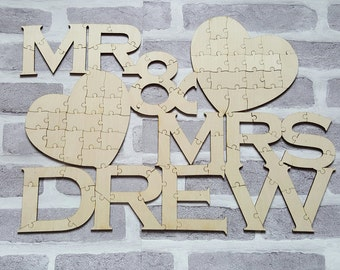 Mr & Mrs Guestbook Jigsaw Puzzle Wedding Guest Book Jigsaw Puzzle, Wedding Guest Book, Wedding Guest Book Alternative