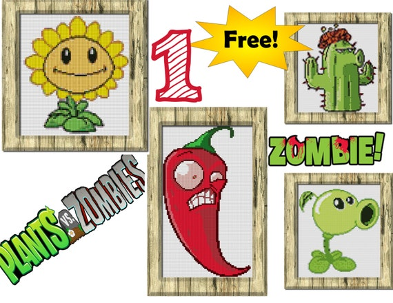 Plants vs zombies cross stitch pattern kit by