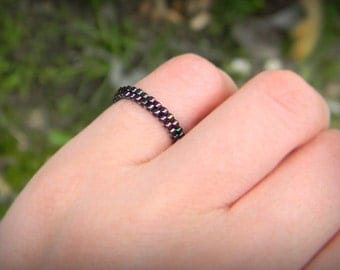 Skinny ring Minimalist peyote ring Dark purple band ring Seed bead ring Thin peyote ring Beadwoven ring Dainty ring Seed bead jewelry