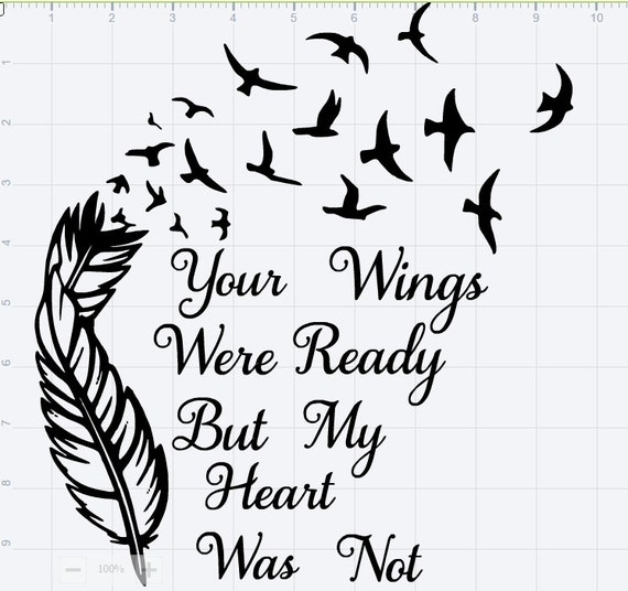 Your wings were ready svg eps dxf studio 3cut file from for Your wings were ready but my heart was not tattoo
