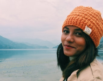 Real Wool Beanie // Hand Knitted in Nepal // Socially Responsible Clothing // Chunky Stocking Hat