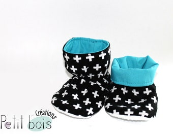 Slippers style ankle boot with cross, blue