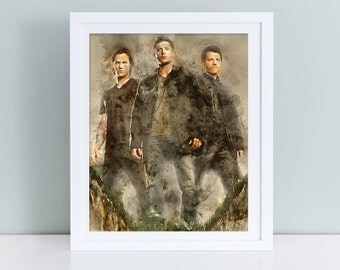Supernatural printable poster, Supernatural Sam and Dean Winchester wall art, Supernatural watercolor print, Supernatural print