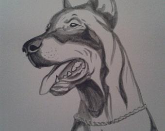 Monochrome portrait artist dog dog marker only