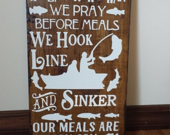 In This House We Fish Sign, Father's Day Gift, Fishing Sign, Outdoors sign, man cave sign, fisherman sign, Fathers Day Gift, outdoorsy sign