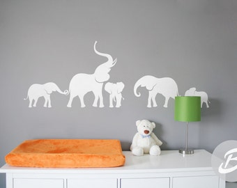 Elephant wall decal Nursery wall decal Large wall decor with elephant Wall sticker with elephants Wall art Removable vinyl decal -AI005