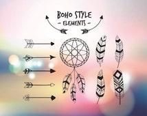 Boho style elements - SVG vector elements Feathers Arrows - EPS DXF Pdf Png vector files - Cricut elements for cricut design - Vector cut