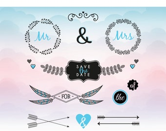 Wedding svg files - DIY wedding card elements - cutting files for Silhouette & Cricut - SVG designs for wedding - Mr and Mrs SVG Vector file