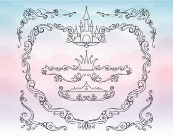 Fairytale castle in pink monogram Cutting File / Clipart in Svg, Eps, Dxf, Png Jpeg for Cricut & Silhouette
