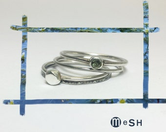 Stacking rings, contemporary jewelry, silver stacking rings