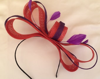 Red Fascinator Purple Fascinator Goodwood Races Hatinator Headpiece Wedding Multi Coloured  Bespoke