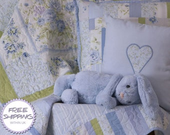 Patchwork Cot Quilt Nursery Set 'Misty Blue' // Baby Quilt // Baby Gift // Baby Shower // Christening Gift