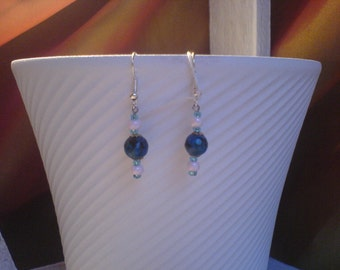 Earrings pearls stone chrysocole