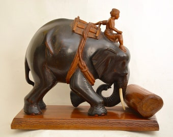 Burmese Elephant Hand carved Antique.superb  ..