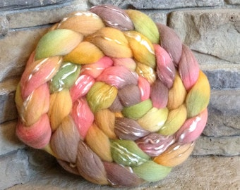 Merino/Tencel Combed Top Spinning Fiber 70/30 -Hand Painted - approx. 4 ounces - CACTUS FLOWER
