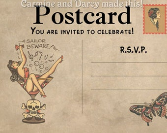 Sailor Jerry style printable invitation! instant download