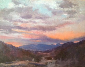 """Original, Oil Painting, Dusk, """"Evening Light on the Mountains"""""""
