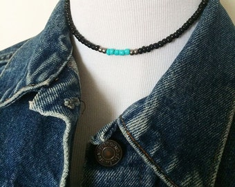 Black and turquoise beaded choker, black beaded necklace, turquoise choker, simple choker, seed bead choker necklace