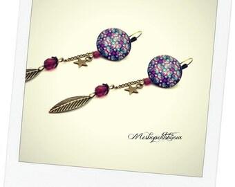 long earrings cabochon Flower Pink Purple