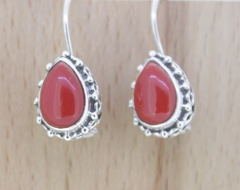 92.5 Sterling Silver Earrings - Artificial Coral   stone