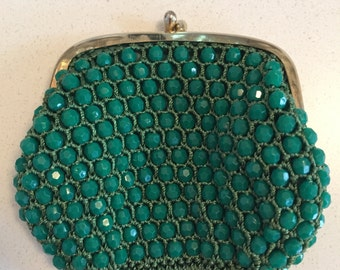 Green Vintage Beaded Coin Purse