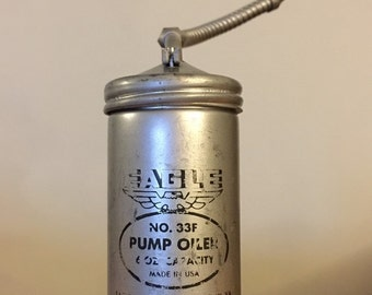 Vintage eagle oil can made in USA old oil can  trigger pump oiler No. 33F 6 oz capacity metal tool vintage advertising