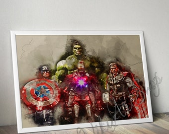 The Avengers Watercolor Art Poster, Iron Man, Hulk, Captain America and Thorn - watercolor art poster, Superheroes poster