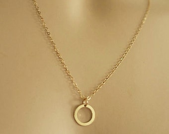 Dainty Circle Necklace, Karma Necklace with 14k Gold Filled Chain or Sterling Silver, Delicate Eternity Necklace, Circle Outline just1gold