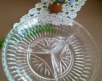 Glass salad,  Plate of salads,  Vintage 50s, Glass Dessert Plate,  Glass Saucer Plate,   Oval glass plates
