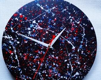 Boho Wall Clock, Minimalist Wall Clock,  Unique Wall Clock, abstract acrylics, quartz Movement
