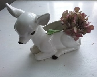 Vintage Fawn Planter, White, Simply Lovely Little Deer, Made in Japan