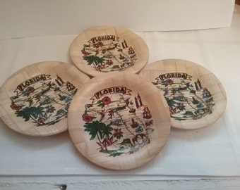 Retro Americana, Set of 4, 1970s, Bamboo, Florida drink coasters