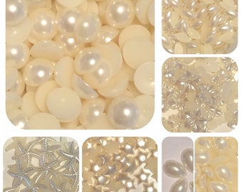 Pearl Flatback Embellishments Ivory Mixed Shapes Sizes