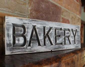 carved bakery sign, rustic farmhouse kitchen style, fixer upper decor, kitchen wall art, rustic wood kitchen sign, bakery sign, bakery