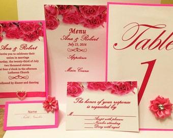Bright Pink Wedding Invitation Set