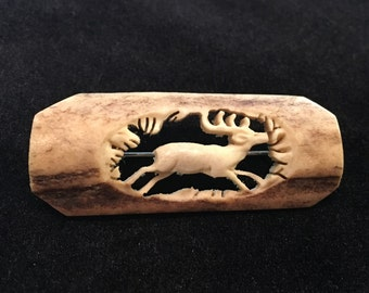 Old Antique Vintage Carved Bone Deer Hunting Cameo Brooch Hunting Scene of Stag