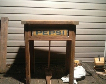 1920s reclaimed wood table pepsi crate