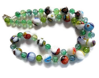 multicolored necklace cracked beads and glass beads