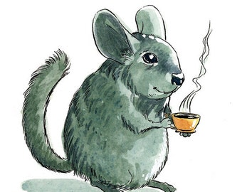 Chinchilla drinking coffee - Blank greeting card featuring watercolor illustration